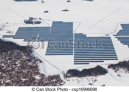 Stock Illustration of Aerial photo of solar power plant. Many.