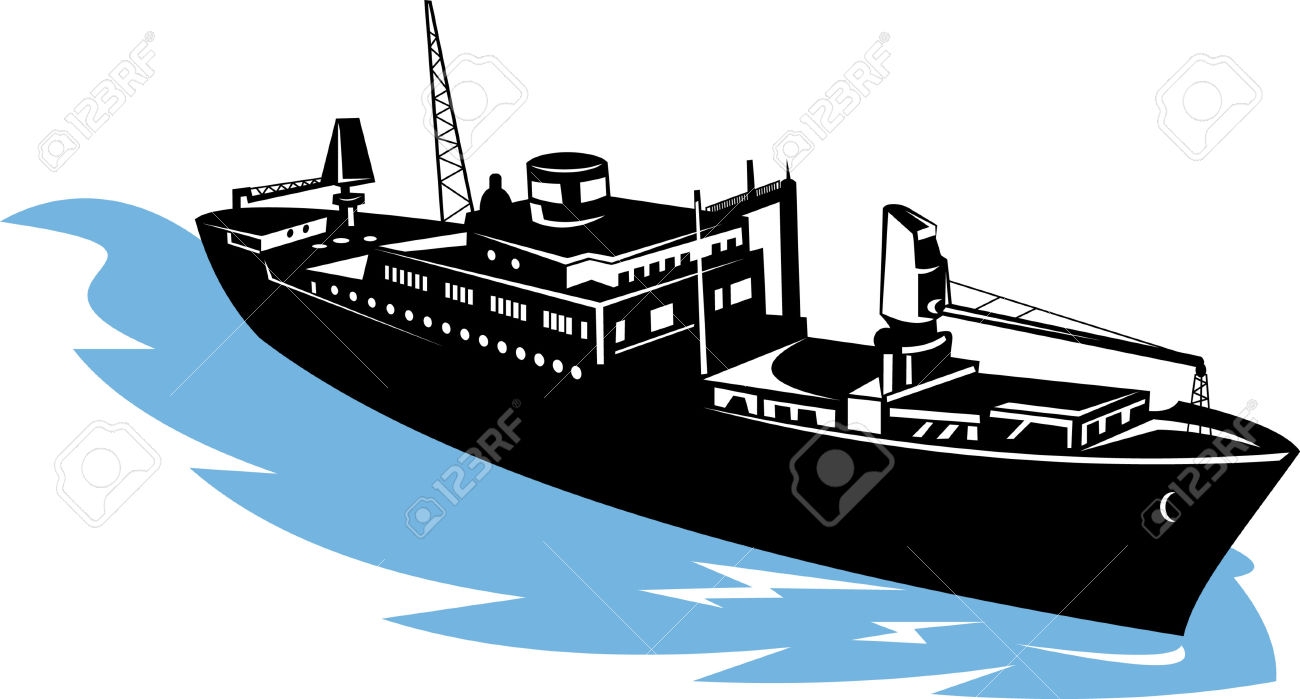 Freighter Ship Aerial View Royalty Free Cliparts, Vectors, And.