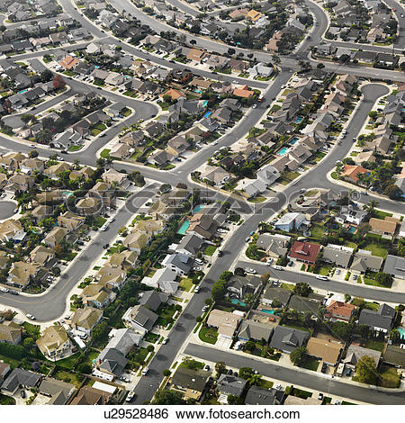 Stock Images of Aerial view of sprawling Southern California urban.