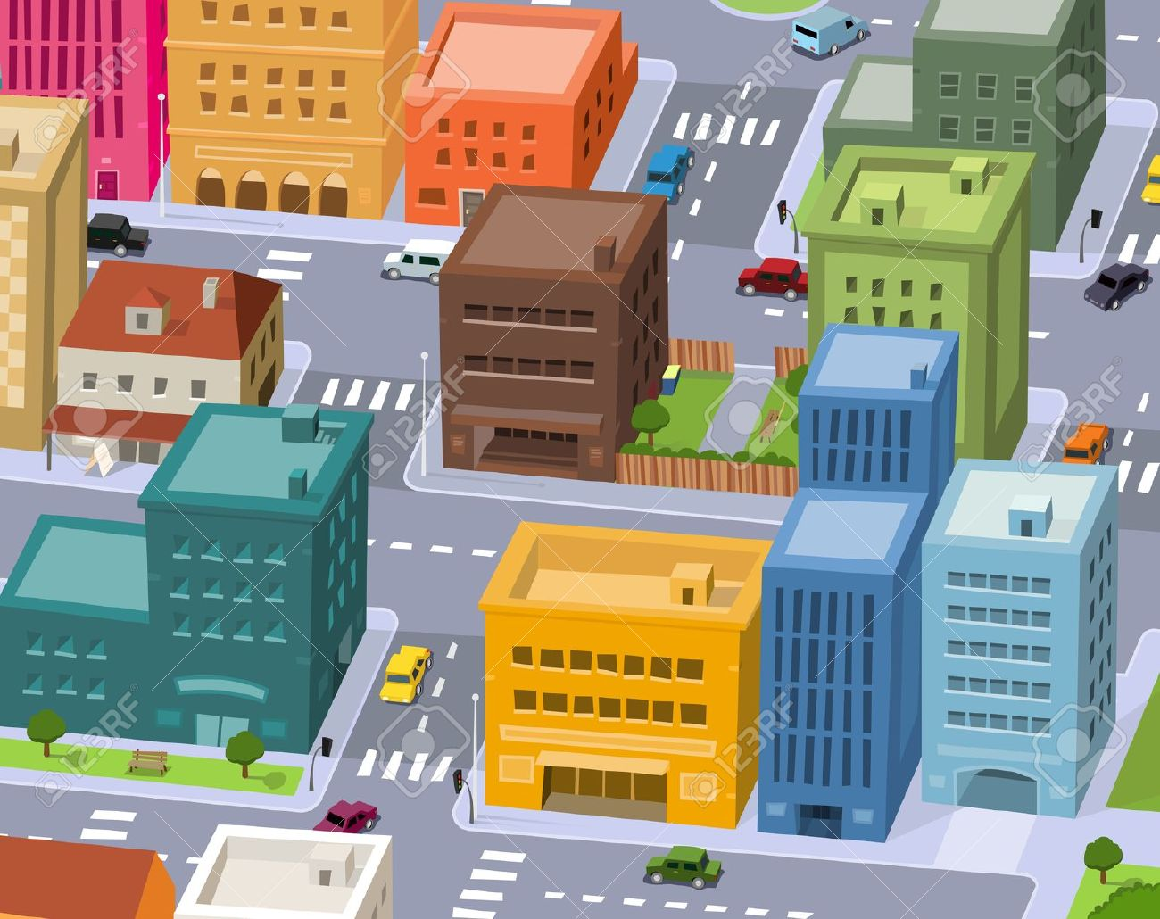 Illustration Of A Cartoon City Scene, With Aerial View Of Downtown.