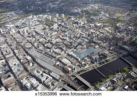 Stock Images of Aerial photography of Glasgow, Scotland x15353996.
