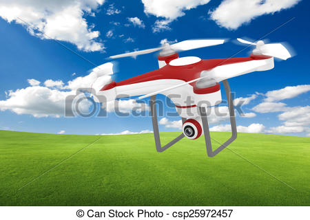 Stock Illustrations of Drone Flying for Aerial Photography or.