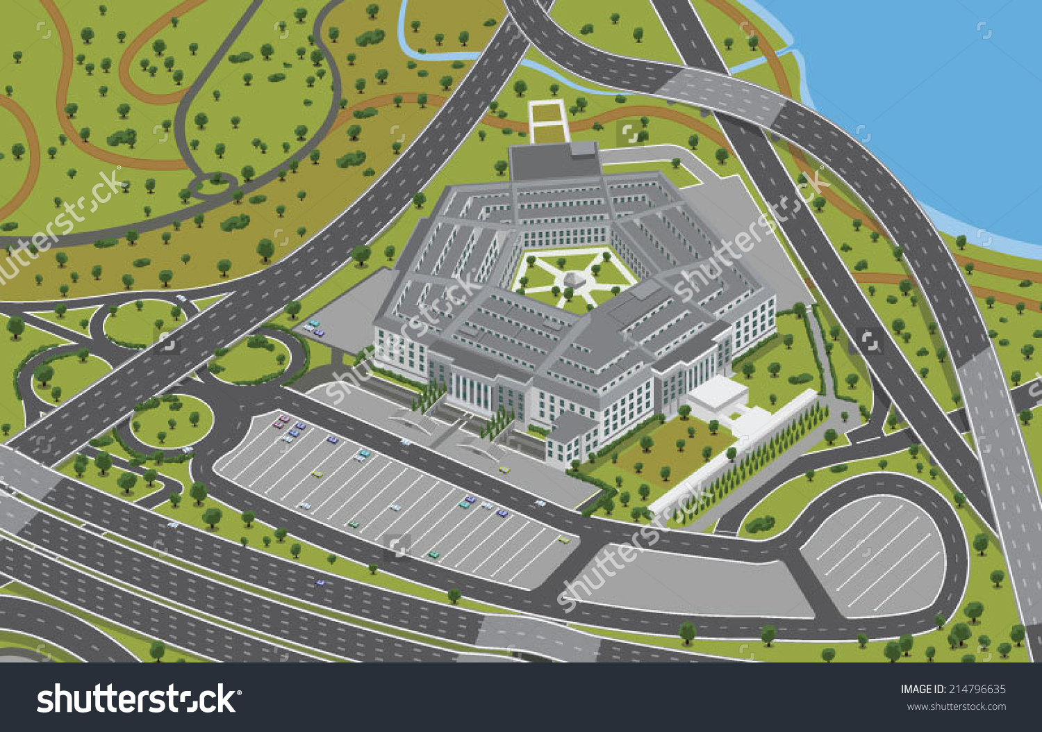 Aerial View Pentagon Vector Clip Art Stock Vector 214796635.