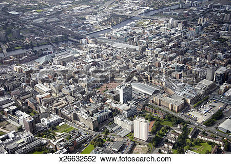 Stock Photo of Aerial photography of central Glasgow, Scotland.