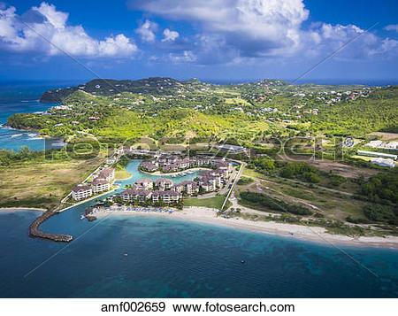 Stock Photograph of Caribbean, St. Lucia, Rodney Bay, Cap Estate.