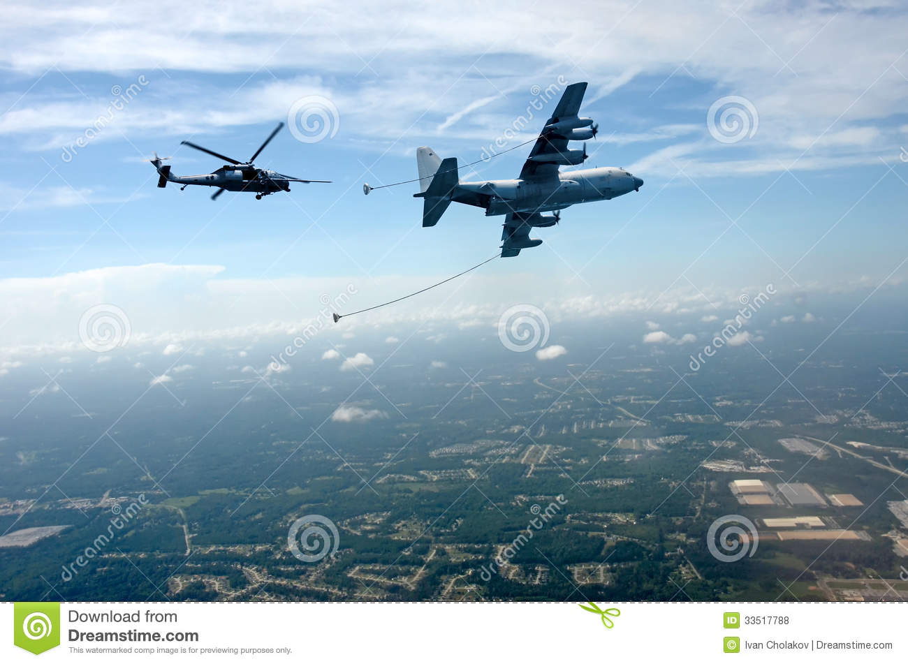 Aerial Refueling Of Helicopter Royalty Free Stock Photos.