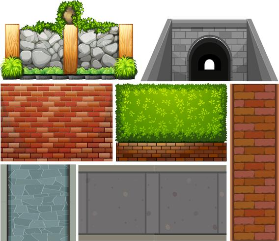 Different design of wall and footpaths.