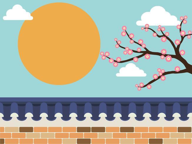 Japanese style stone wall fence with sakura tree on.