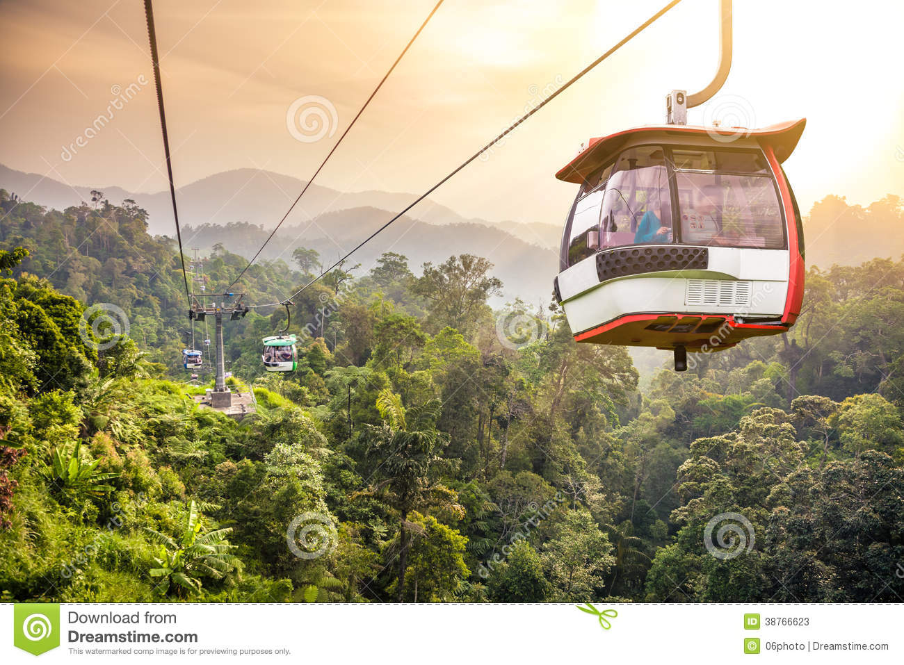 Aerial Tramway Moving Up In Tropical Jungle Mountains Stock Photos.