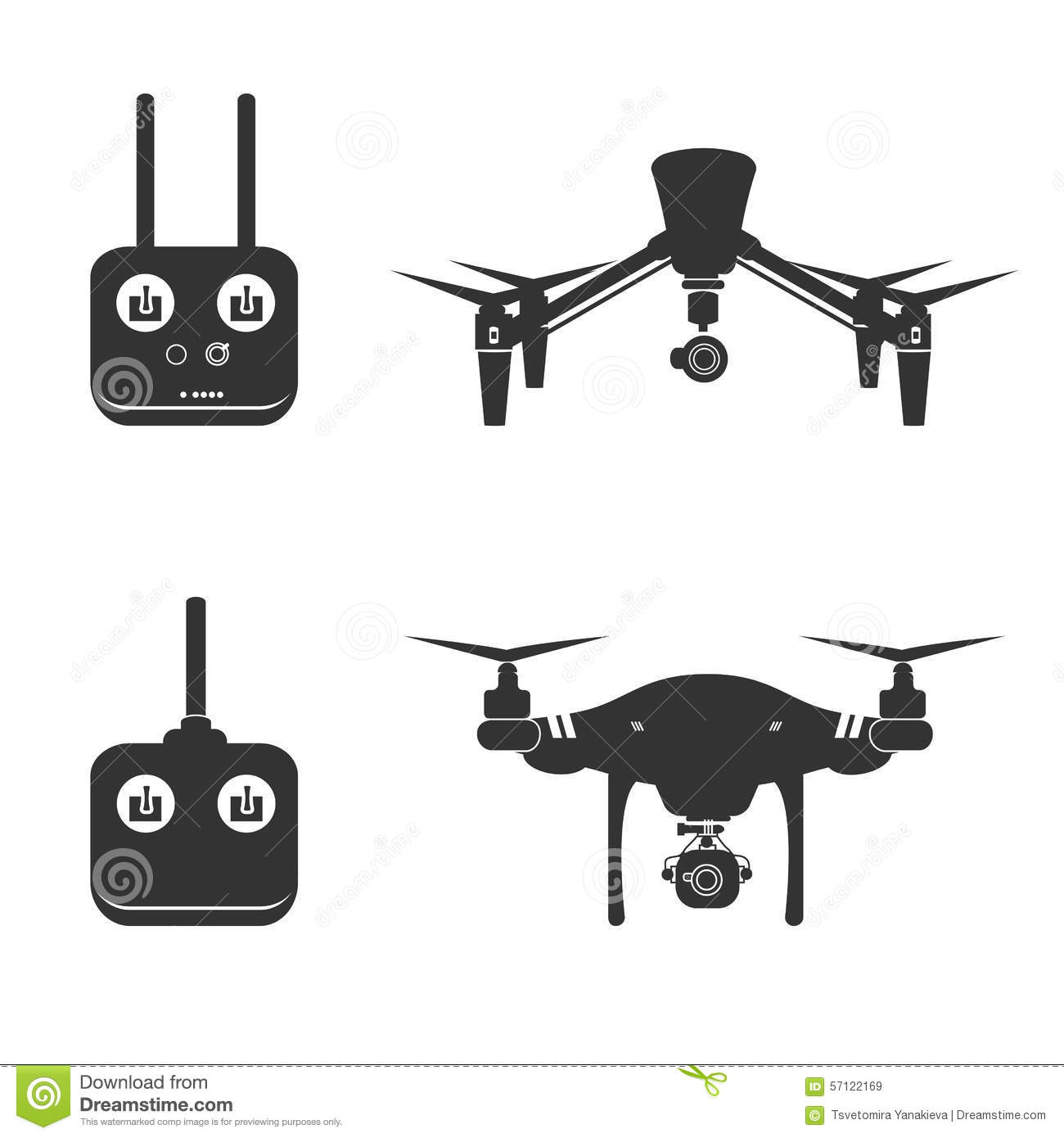 Drone Silhouette Video Aerial Fly Helicopter Stock Vector.