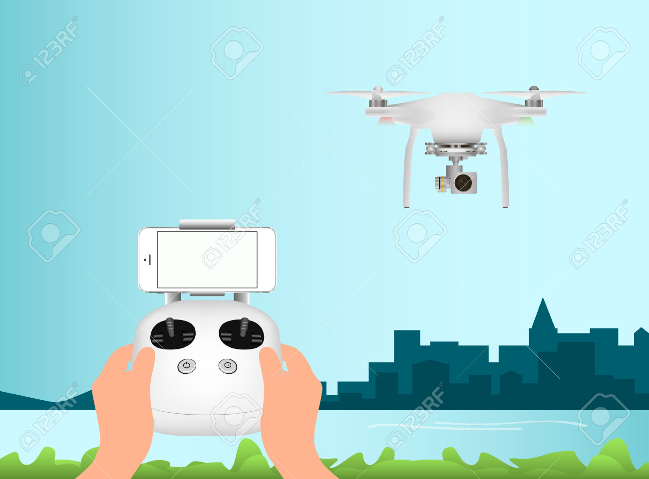 White Drone With With Digital Camera For Aerial Photography.