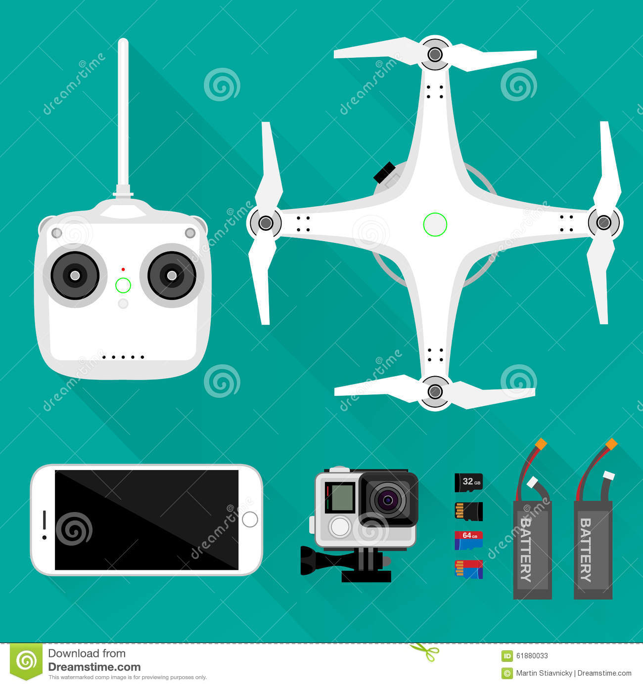 Aerial Videography/photography Equipment Stock Vector.