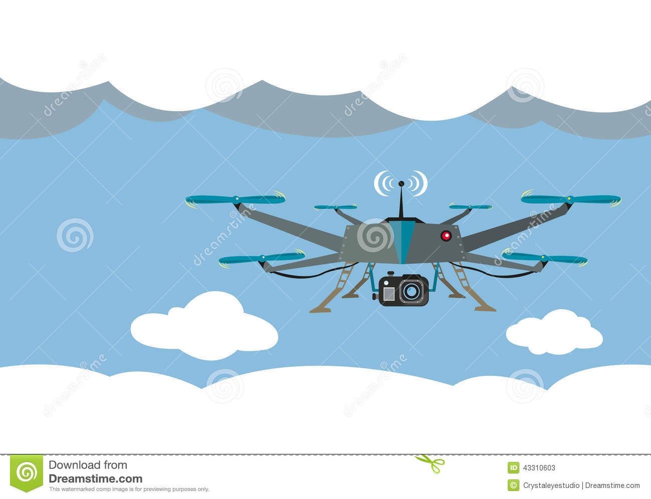 Drone Flying For Aerial Photography Or Video Shooting. Stock.