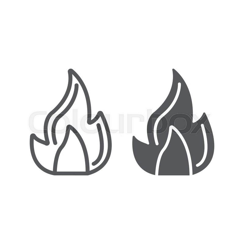Fire line and glyph icon, campfire and.