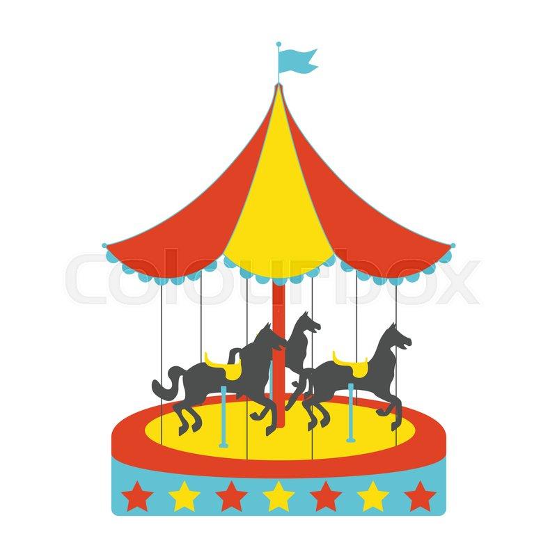 Carousel horses flat icon. Vintage.