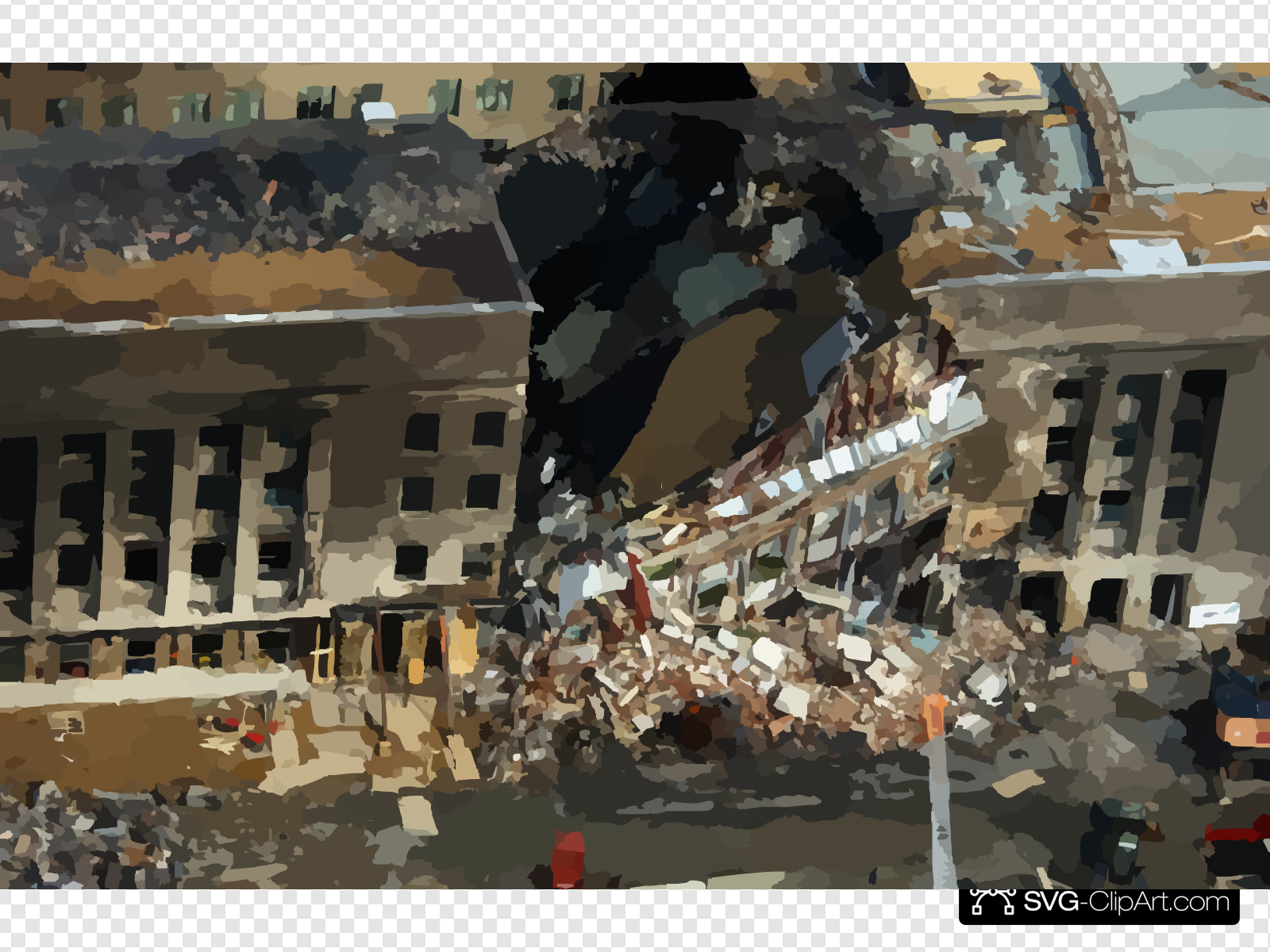 Aerial View Of Pentagon Destruction Clip art, Icon and SVG.
