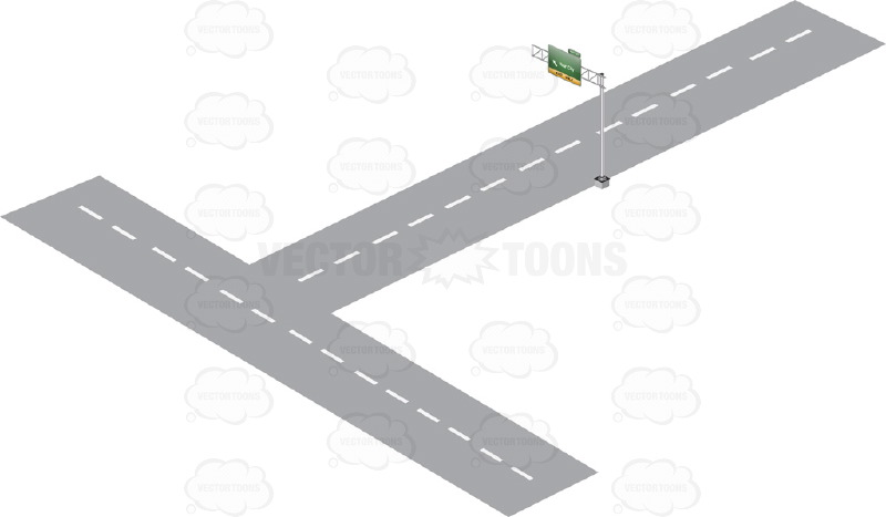 Aerial View Of A Road Clipart.