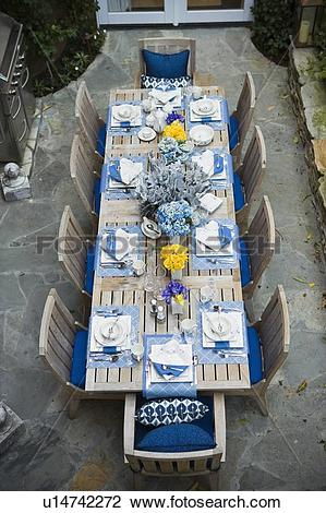 Stock Photo of Aerial view patio with dining table u14742272.