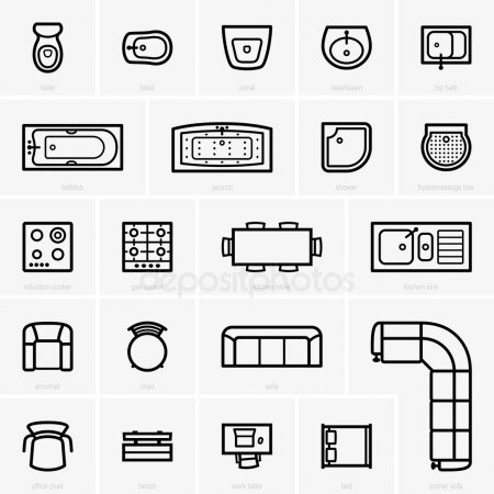 ᐈ Furniture stock cliparts, Royalty Free furniture top view.