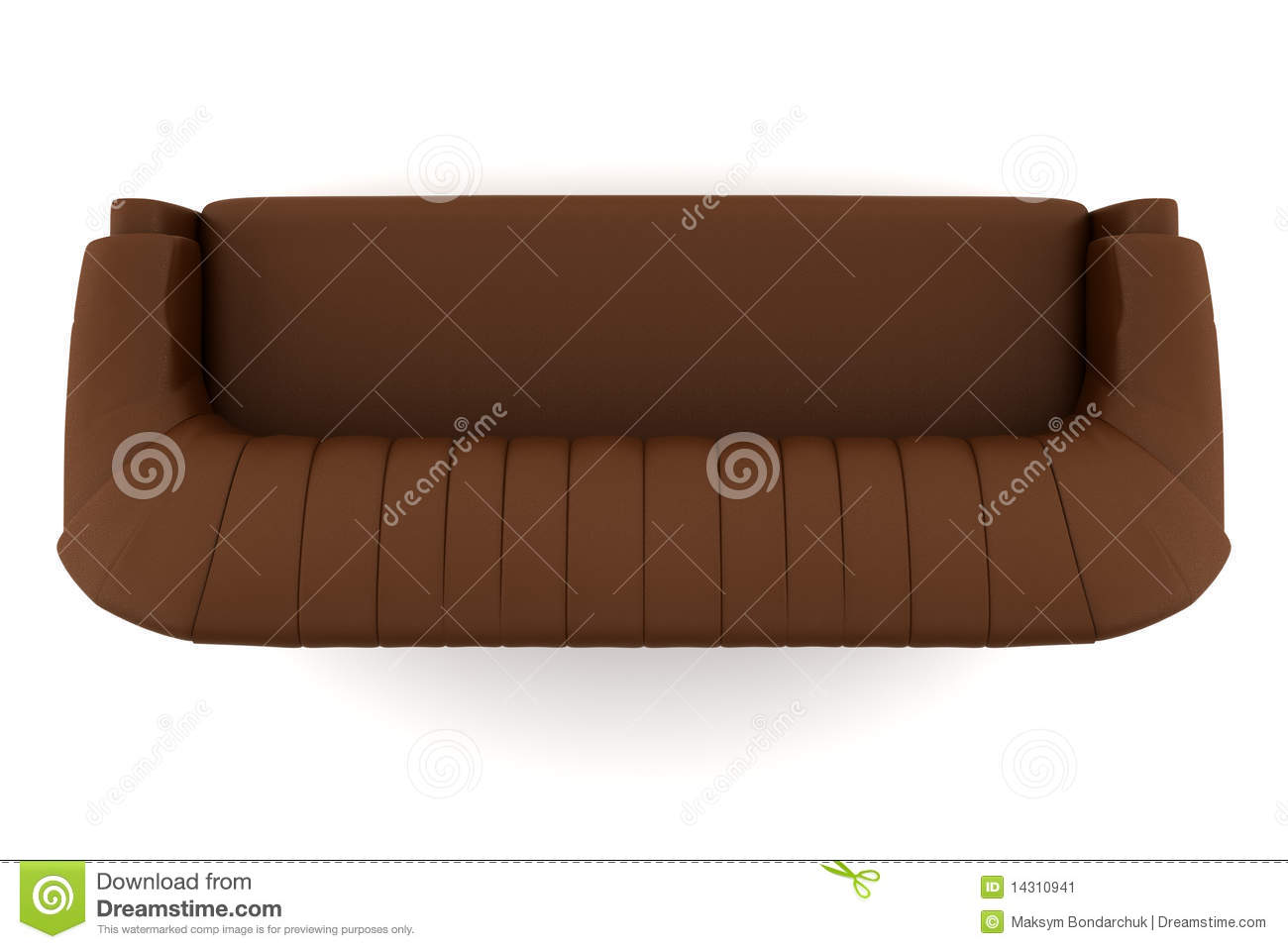 Top View Of Brown Leather Sofa Isolated On White Stock.