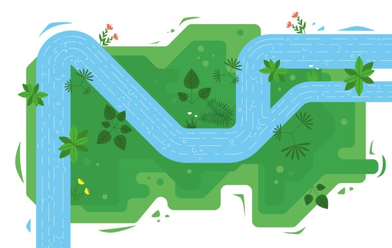 Vector Top View River Illustration.