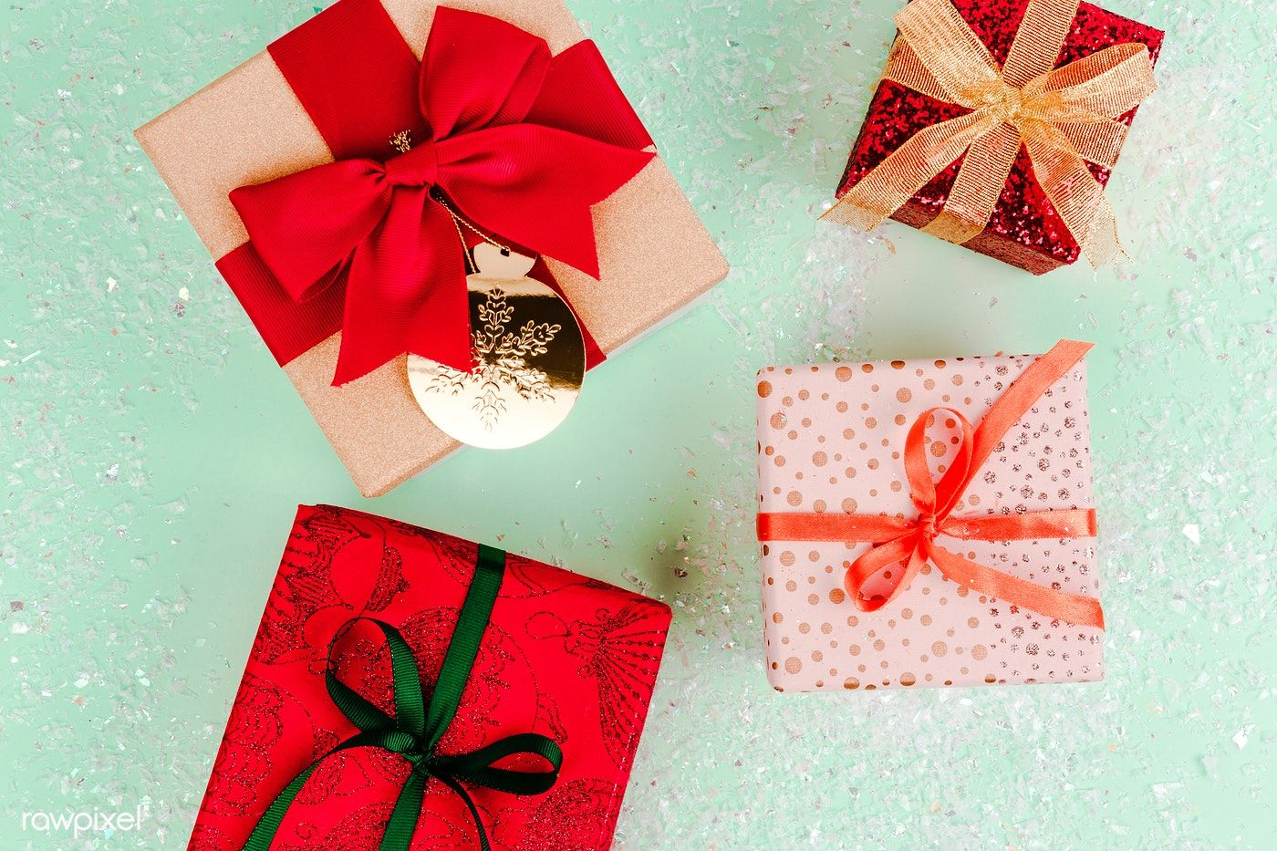 Download premium photo of Christmas gift boxes aerial view.