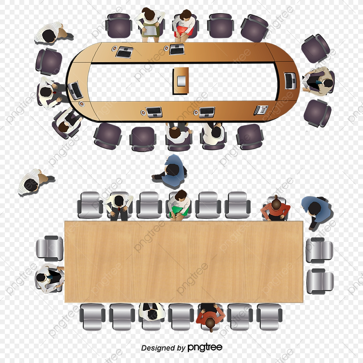 Vector Aerial Conference Table, Top View, Plan View.