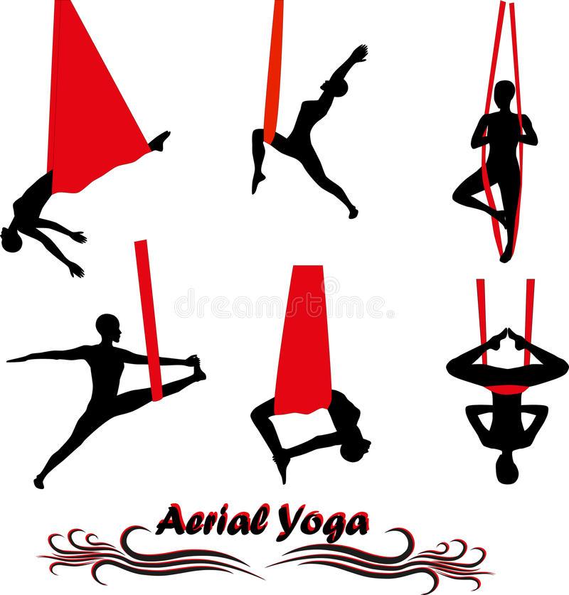 Aerial Yoga Stock Illustrations.