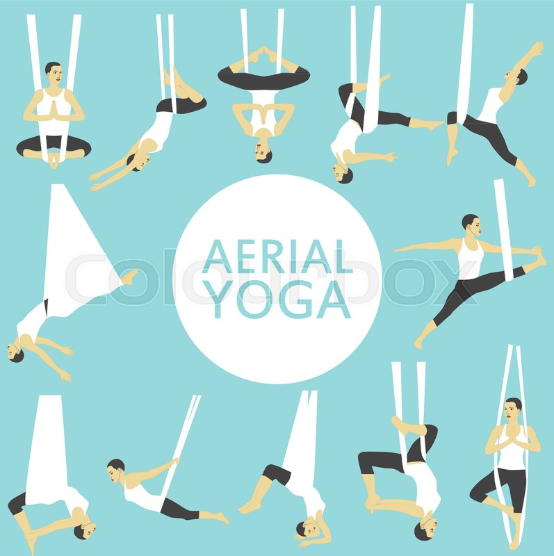 Aerial yoga set with young woman in.
