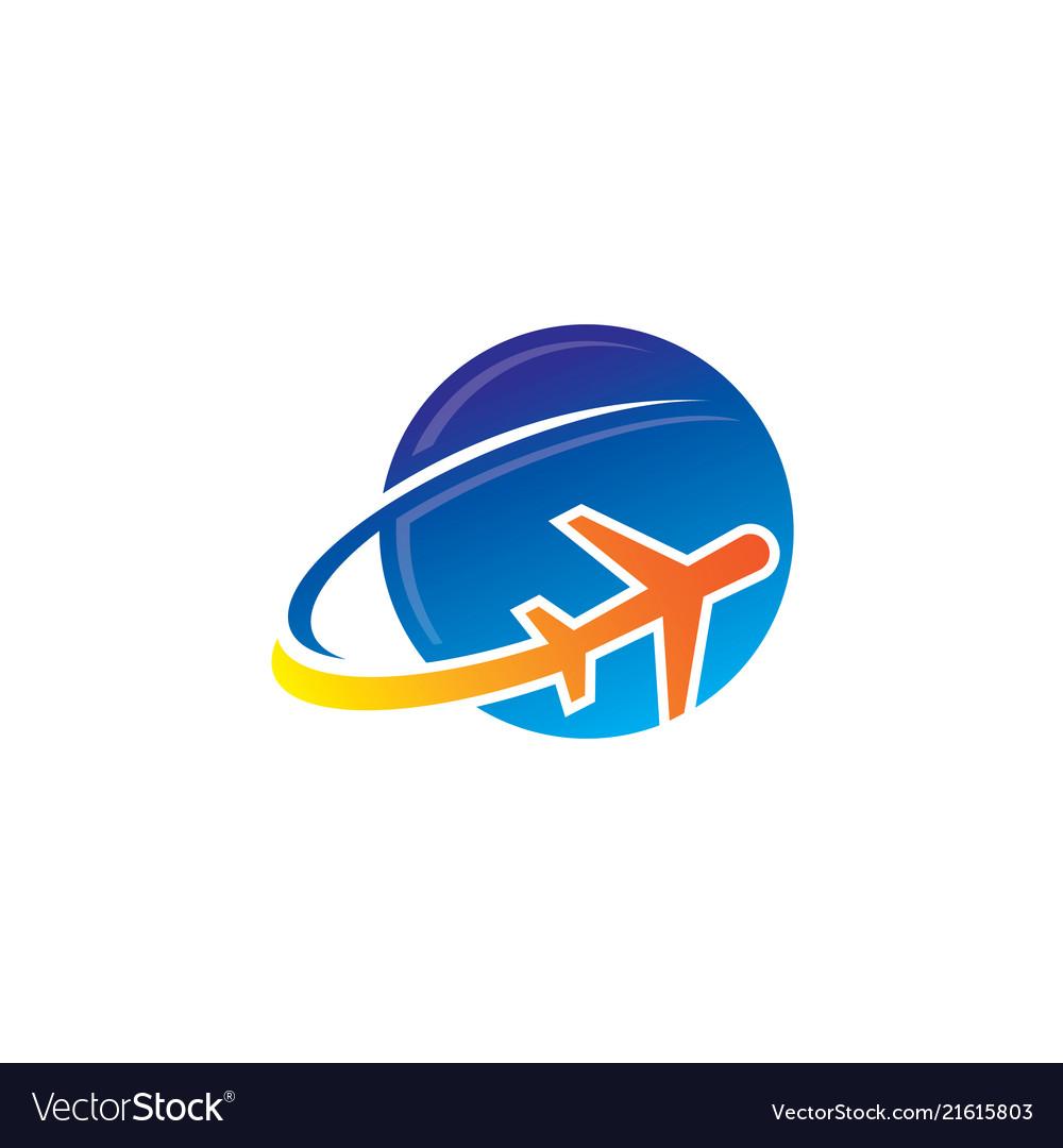 Plane fly cloud aero logo.