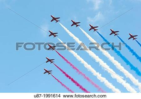 Stock Photo of England, London, The Red Arrows Aerobatic Display.