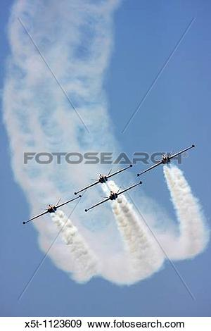 Stock Photograph of 4 Israeli Air force Fouga Magister CM.