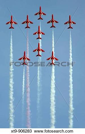 Stock Photo of Royal Air Force Hawk T1A aerobatic display team Red.
