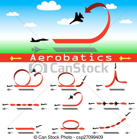 Vector Clipart of Aerobatics airplane on blue sky background.