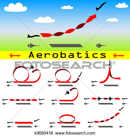 Clip Art of Aerobatics airplane on blue sky background k9050418.