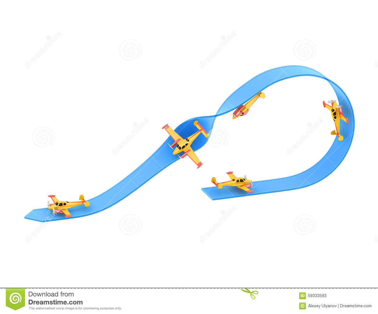 Illustration Of Aerobatics Half Loop With A Half Roll With Yellow.