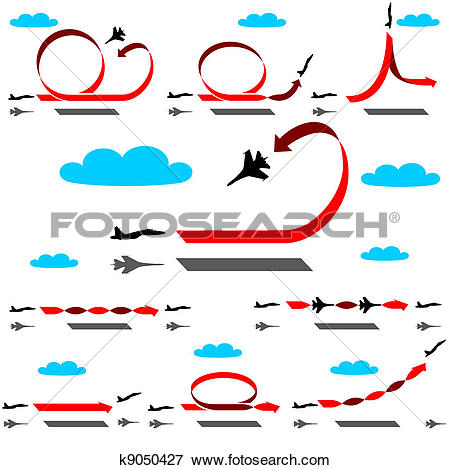 Clip Art of Aerobatics airplane on blue sky background k9050427.