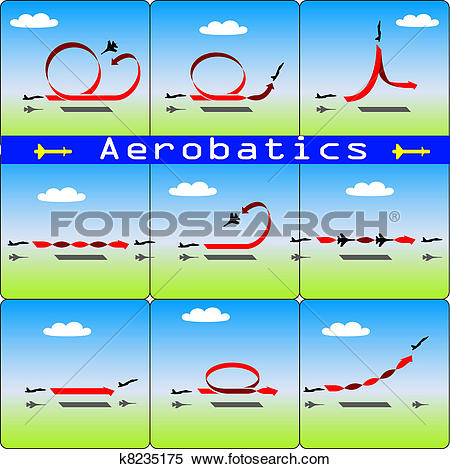 Clipart of Aerobatics airplane on blue sky background k8235175.