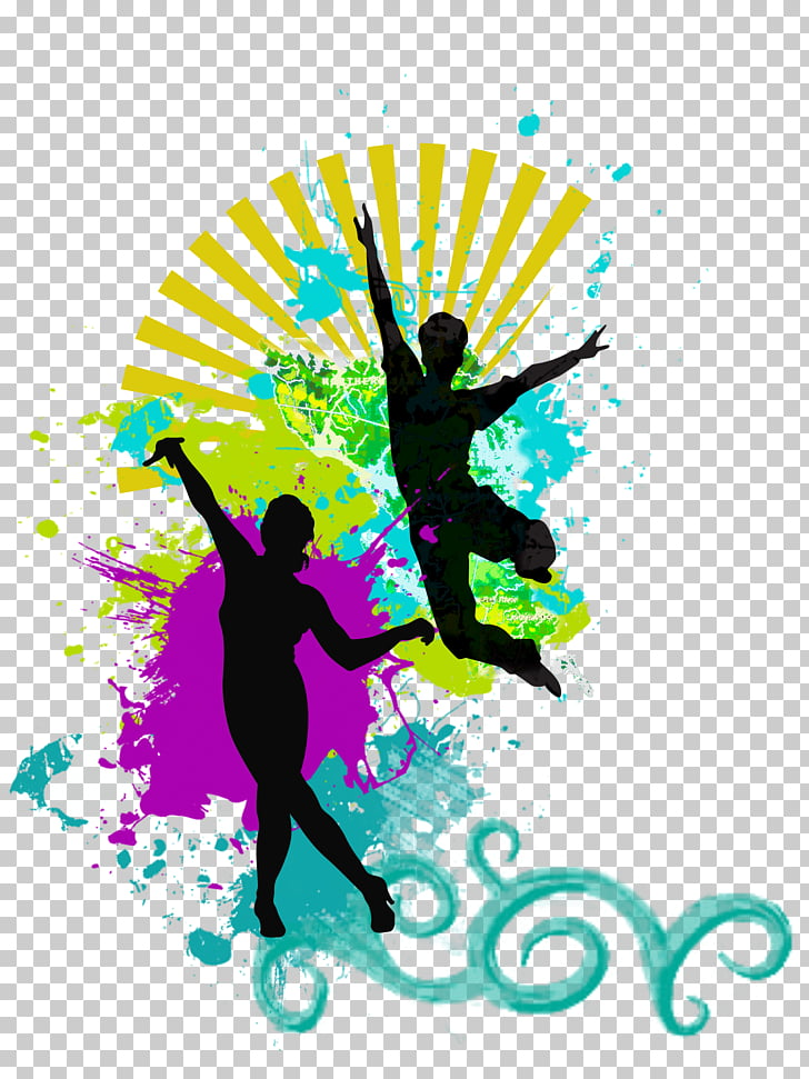 Dance Silhouette Music, aerobics PNG clipart.