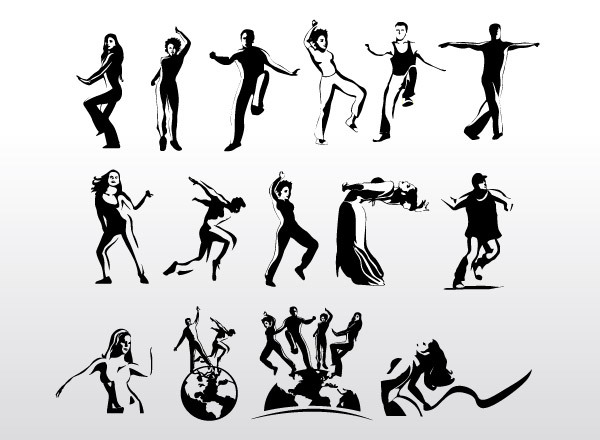 Aerobic Art Dancer Vector Silhouettes Clipart Graphic.