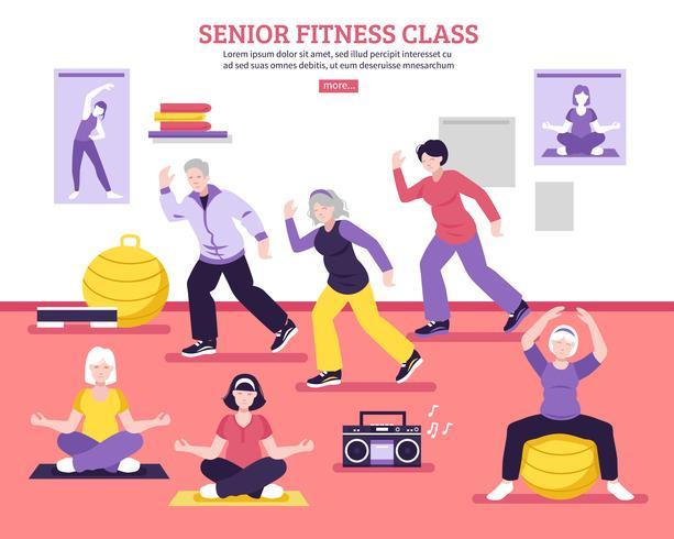 Senior Fitness Class Flat Poster.
