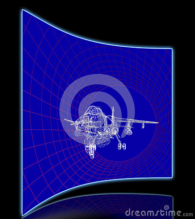 Simulation Of Aircraft In Wind Tunnel Stock Illustration.