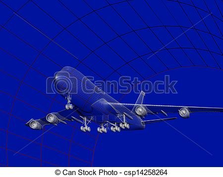Stock Illustration of Aircraft Model In Wind Tunnel.