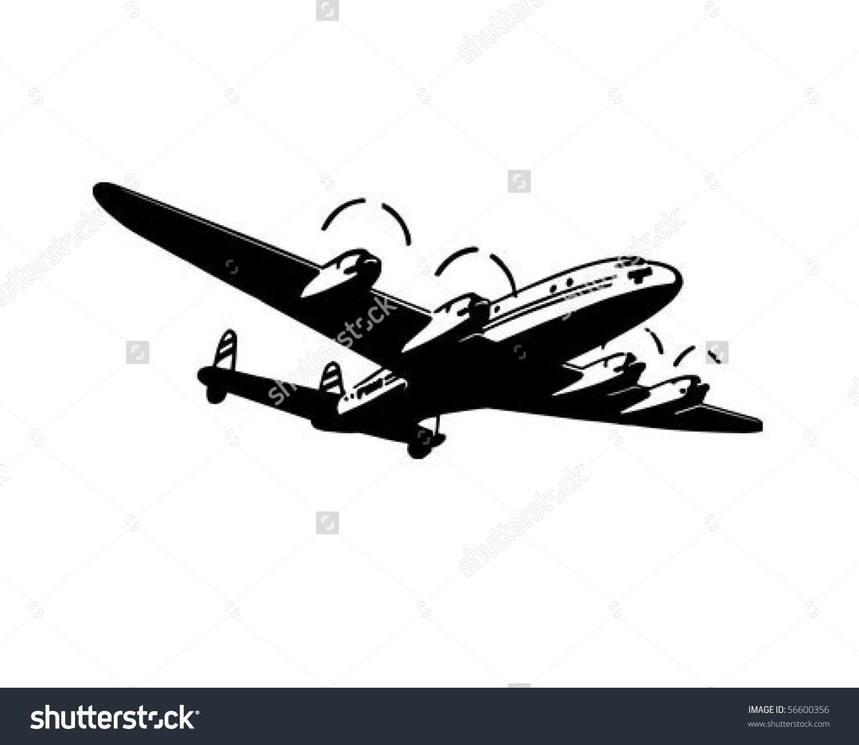 Passenger Plane Retro Clip Art Stock Vector 56600356.
