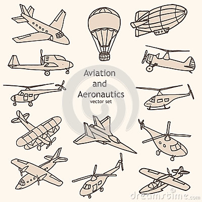 Aviation And Aeronautics Objects Vector Collection Stock Vector.