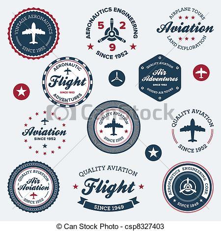 Vectors of Vintage aeronautics labels.