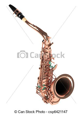 Stock Illustrations of Tenor saxophone isolated on white.
