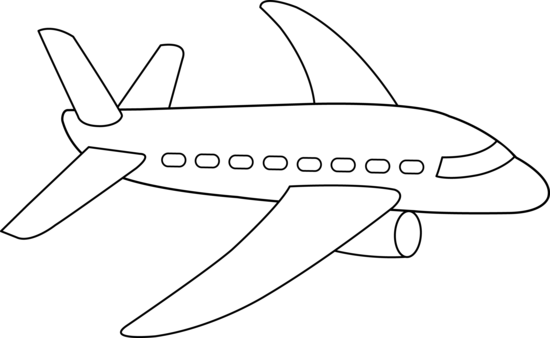 Clipart Of Aeroplane In Black And White.