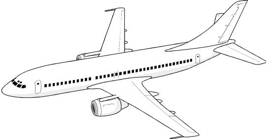Aeroplane Black And White Clipart.