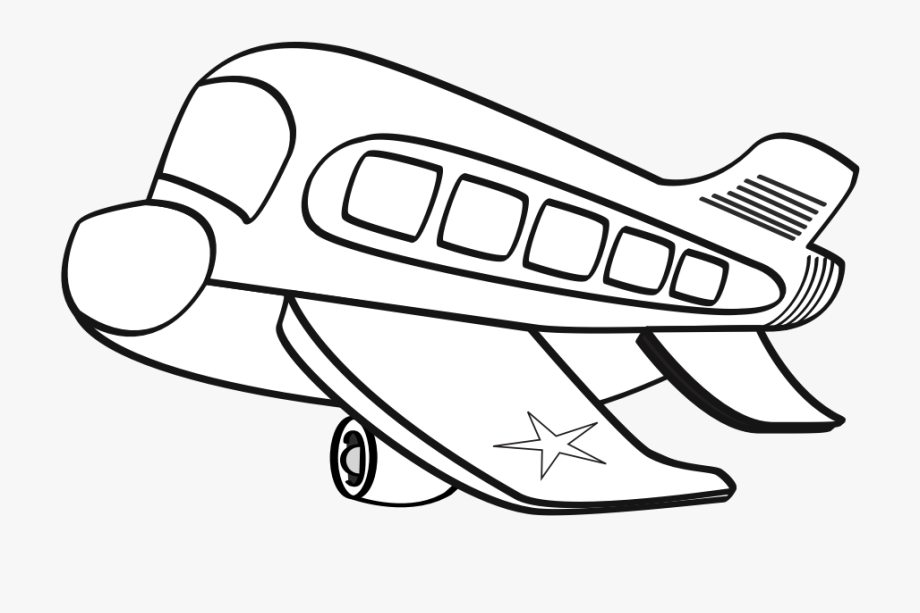 Funny Airplane Clipart Black And White Cartoon Plane.